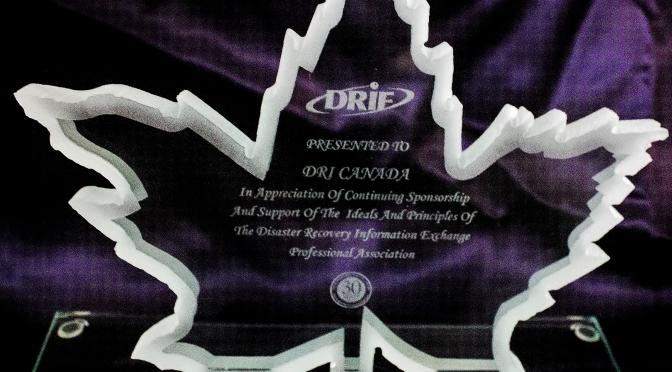 DRIE Toronto Presents DRI Canada with Sponsor Appreciation  Award
